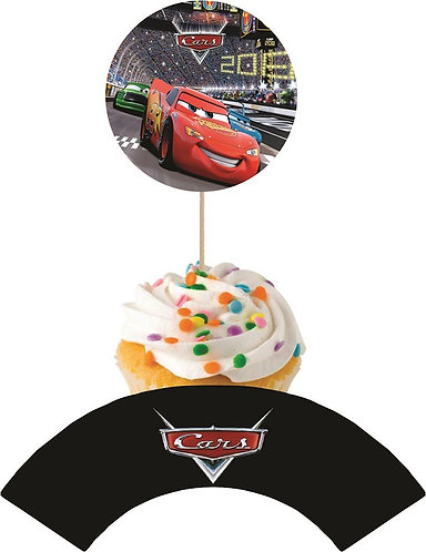 Cars Round Cupcakes Toppers or Wrappers -12 or 24 pcs