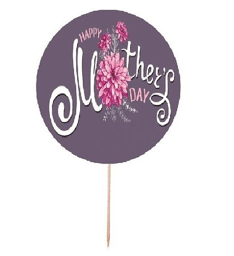 Mothers Day Round Cupcakes Toppers or Wrappers -12 or 24 pcs