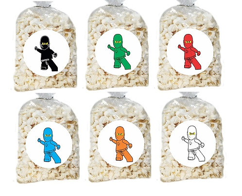 Ninjago Lego Giveaways Clear Bags for Popcorn or Candies - 12 pcs set