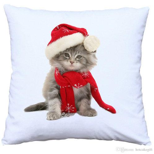 Christmas Cat Cushion Decorative Pillow COTTON OR LINEN - 40cm