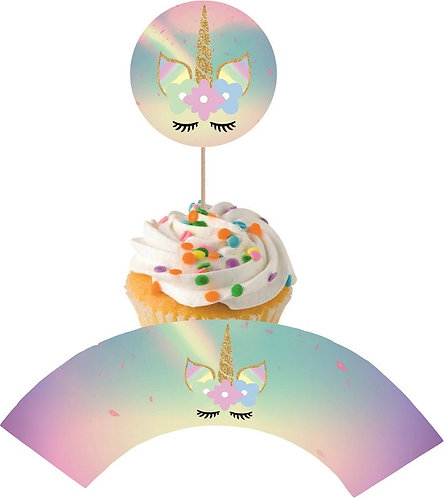 Unicorn Round Cupcakes Toppers or Wrappers -12 or 24 pcs