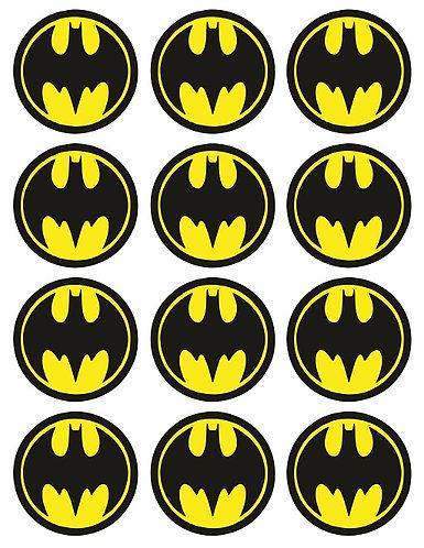 Batman Logo Round Glossy Stickers - 12 pcs set