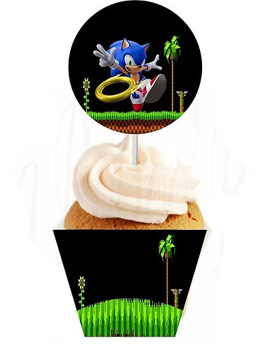 Sonic Game Round Cupcakes Toppers or Wrappers -12 or 24 pcs