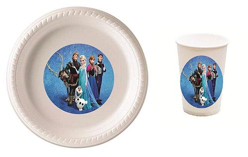 Frozen Plastic Plates with Cups - 12 pcs set