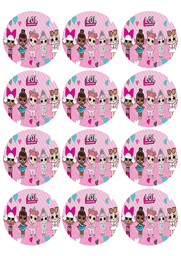 LOL Surprise Dolls Round Glossy Stickers - 12 pcs set