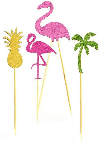 Flamingo Shapes Pineapple Palm Cupcakes Toppers or Wrappers -12 or 24pcs