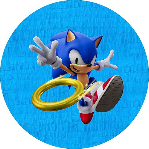 Sonic Game Birthday Party Pull Strings Pinata Round - 35 cm