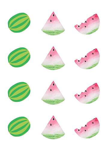 Watermelon Shapes Round Glossy Stickers - 12 pcs set