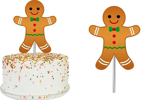 Christmas Ginger Cookie Big Topper for Cake - 1 pcs set