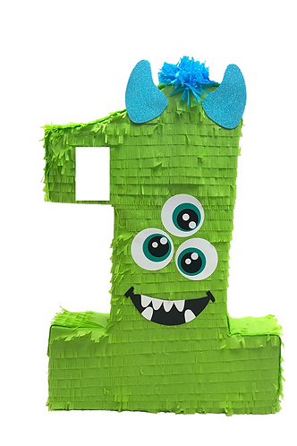 Any Number Cute Monster Birthday Party Pull Strings Pinata -40 cm