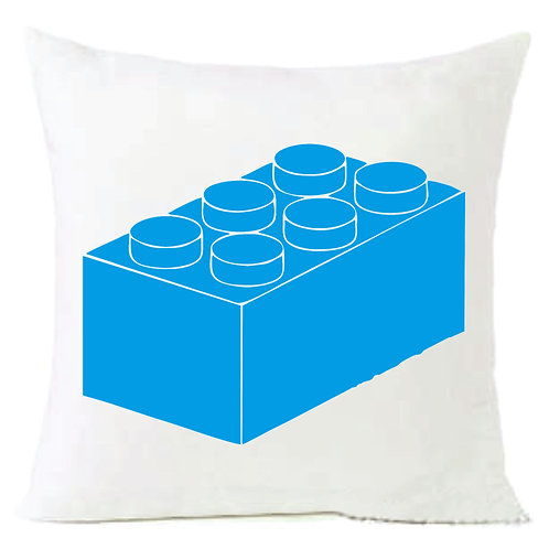 Blue Lego Block Cushion Decorative Pillow - 40cm