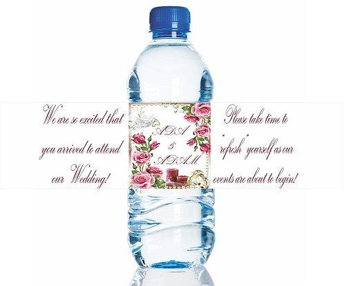 CUSTOM engaged Wedding Flowers Water Bottles Stickers - 6 pcs set