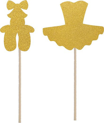 Gold Ballerina Dress Shoes Cupcakes Toppers or Wrappers -12 or 24pcs