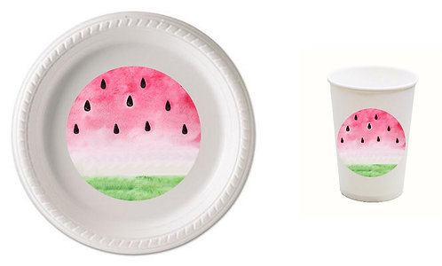 Watermelon Plastic Plates with Cups - 12 pcs set