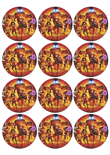 Incredibles Round Glossy Stickers - 12 pcs set