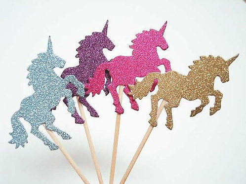 Pink Purple Gold Silver Unicorn Cupcakes Toppers or Wrappers -12 or 24 pcs