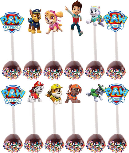 Paw Patrol Characters Cakepops Toppers - 12 pcs set