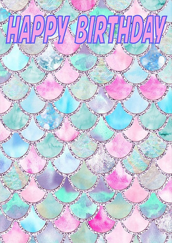 Mermaid HAPPY BIRTHDAY Congratulation Card