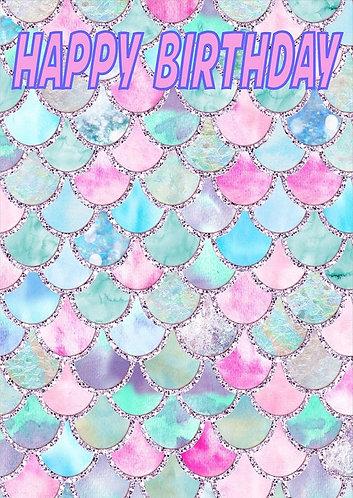 Mermaid HAPPY BIRTHDAY Congratulation Card