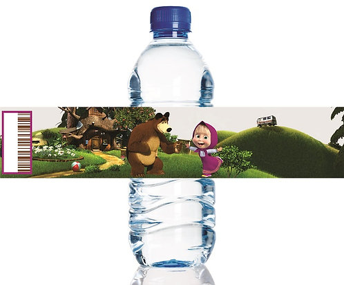 Masha and theBear Water Bottles Stickers - 6 pcs set