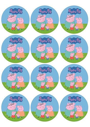 Peppa Pig Round Glossy Stickers - 12 pcs set