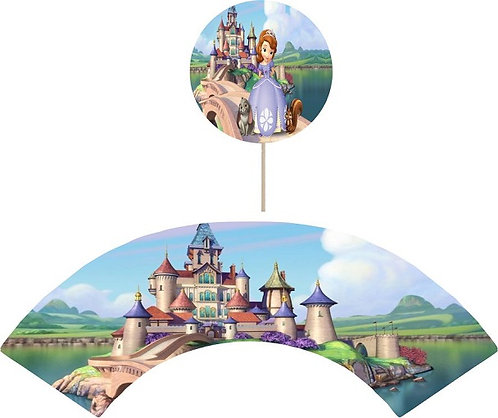 Princess Sofia the First Round Cupcakes Toppers or Wrappers -12 or 24pcs
