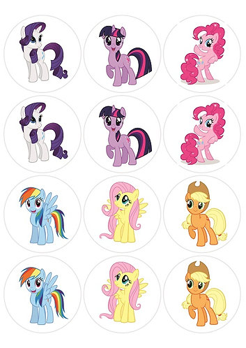 My Little Pony Characters Round Glossy Stickers - 12 pcs set