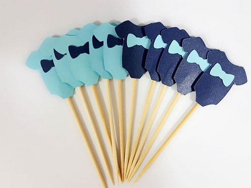 Blue Dark Blue Onesies Baby Shower Cupcakes Toppers or Wrappers -12 or 24 pcs