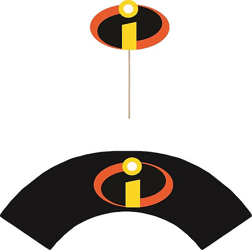 Incredibles Logo Cupcakes Toppers or Wrappers -12 or 24 pcs