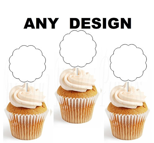 ANY DESIGN CUSTOM ORDER Scallop Cupcakes Toppers or Wrappers -12 or 24 pcs