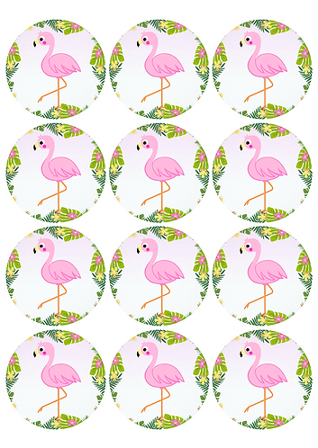 Flamingo Round Glossy Stickers - 12 pcs set