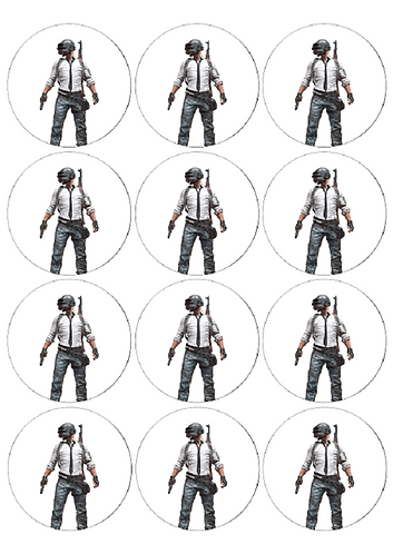 PUBG Game Character Round Glossy Stickers - 12 pcs set