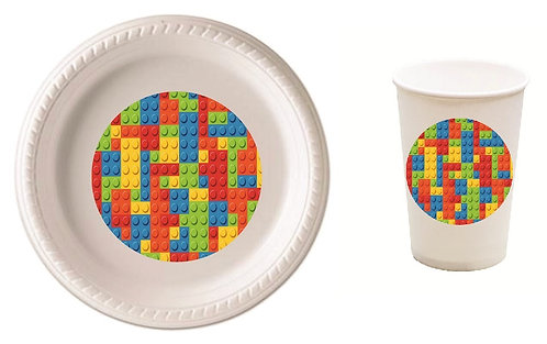 Lego Blocks Plastic Plates with Cups - 12 pcs set