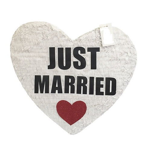 JUST MARRIED or JUST ENGAGED Wedding Heart Pull Strings Pinata -40cm
