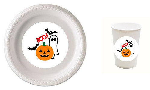 BOO! Halloween Plastic Plates with Cups - 12 pcs set