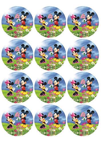 Mickey Minnie Round Glossy Stickers - 12 pcs set