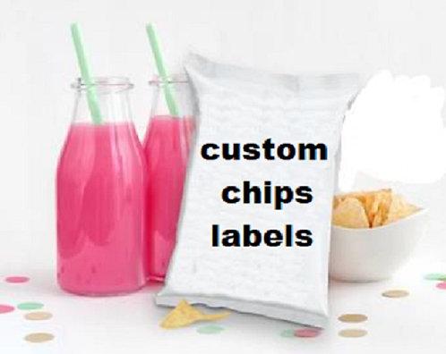 Custom Chips bags Labels - 12 pcs