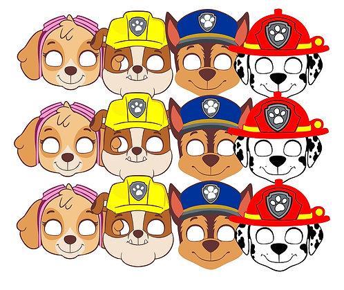 Paw Patrol Party Masks - 6 pcs or 12 pcs