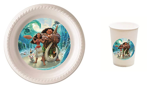 Moana Plastic Plates with Cups - 12 pcs set
