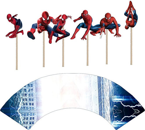 Spiderman Characters Cupcakes Toppers or Wrappers -12 or 24 pcs