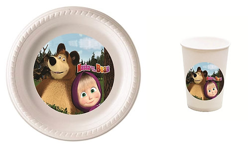 Masha and the Bear Plastic Plates with Cups - 12 pcs set