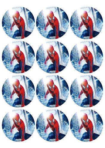 Spiderman Round Glossy Stickers - 12 pcs set