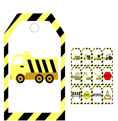 Under Construction Gifts Tags - 12 pcs set