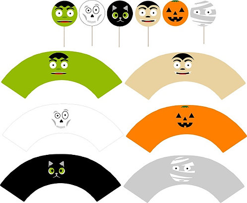 Cute Halloween Round Cupcakes Toppers or Wrappers -12 or 24 pcs