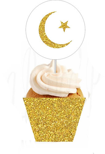 Gold or Silver Ramadan EID Moon Star Round Cupcakes Toppers or Wrappers