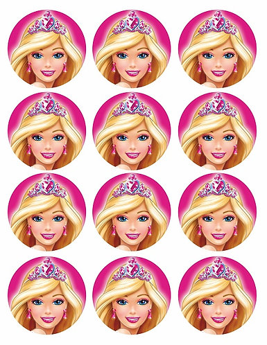 Barbie Round Glossy Stickers - 12 pcs set