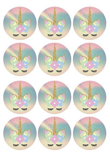 Unicorn Round Glossy Stickers - 12 pcs set