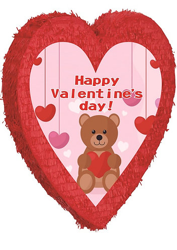 Red Heart Valentines Day Teddy Bear Birthday Party Pull Strings Pinata - 40