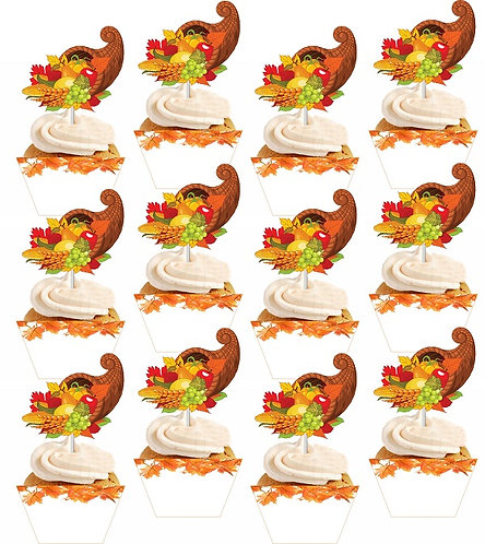 THANKSGIVING Cupcakes Toppers or Wrappers - 12 or 24pcs