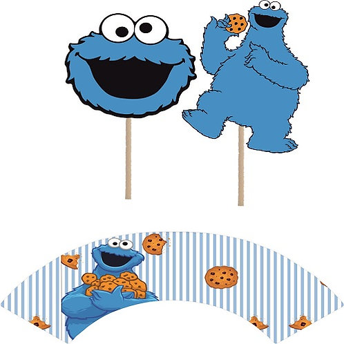 Sesame Street Cookie Monster Cupcakes Toppers or Wrappers -12 or 24 pcs